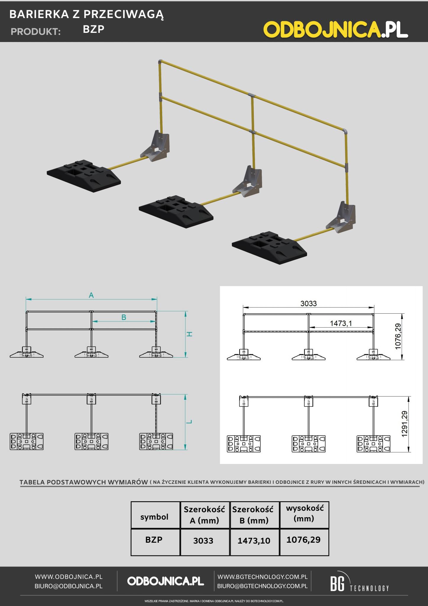 karta techniczna barierka z przeciwwagą